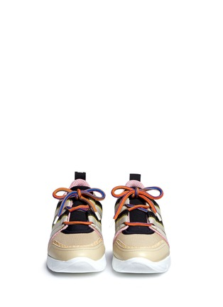 Front View - Click To Enlarge - MSGM - Croc embossed leather mesh combo sneakers