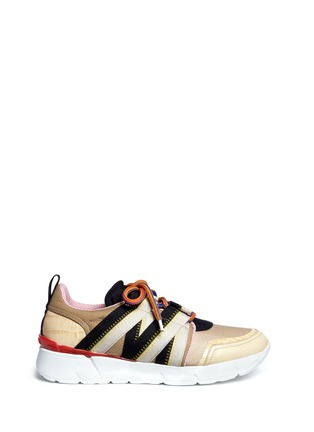 Main View - Click To Enlarge - MSGM - Croc embossed leather mesh combo sneakers