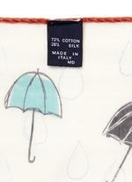 Umbrella print cotton-silk pocket square