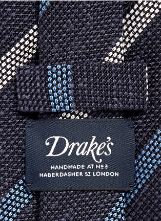 Detail View - Click To Enlarge - Drake ' S - Regimental stripe silk tussah tie