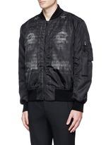 Barb wire Jesus print padded bomber jacket