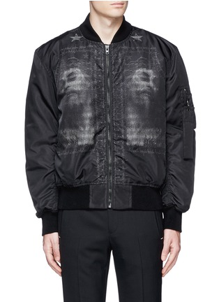 Main View - Click To Enlarge - Givenchy - Barb wire Jesus print padded bomber jacket