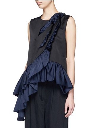 Front View - Click To Enlarge - Dries Van Noten - 'Clara Bis' asymmetric ruffle sleeveless top