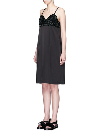 Front View - Click To Enlarge - Dries Van Noten - 'Dal' sequin embellished sateen cami dress