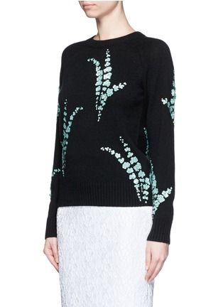 Front View - Click To Enlarge - Dries Van Noten - 'Jackleen' leaf sequin cashmere sweater