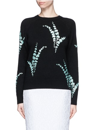 Main View - Click To Enlarge - Dries Van Noten - 'Jackleen' leaf sequin cashmere sweater