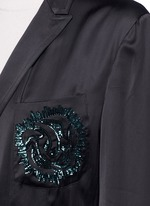 'Rella' sequin embroidery pocket satin coat