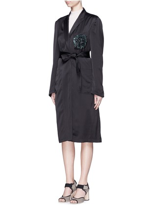 Front View - Click To Enlarge - Dries Van Noten - 'Rella' sequin embroidery pocket satin coat