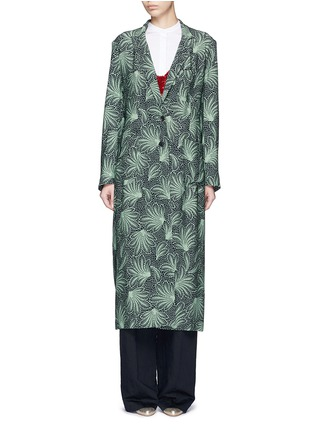 Detail View - Click To Enlarge - Dries Van Noten - 'Rella Long' leaf print coat