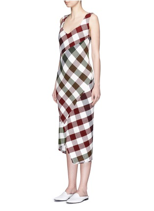 Front View - Click To Enlarge - Victoria Beckham - Bounce gingham check patchwork open back dress