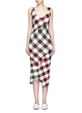 Main View - Click To Enlarge - Victoria Beckham - Bounce gingham check patchwork open back dress