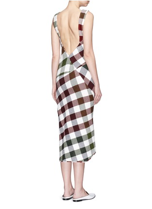 Victoria Beckham - Bounce gingham check patchwork open back dress
