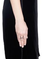 'Mobius' black diamond ruthenium plated 18k gold ring