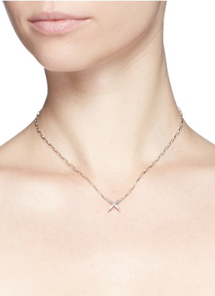 Detail View - Click To Enlarge - Core Jewels - 'Mobius' diamond 18k white gold small cross pendant necklace
