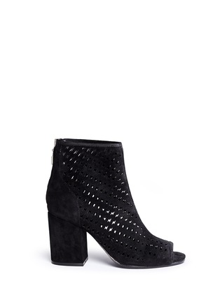 Main View - Click To Enlarge - Ash - 'Flash' lightning bolt perforated suede ankle boots