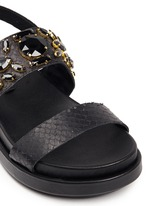 'Stone' embellished leather slingback sandals