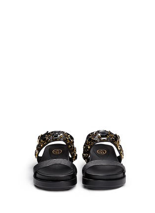 Front View - Click To Enlarge - Ash - 'Stone' embellished leather slingback sandals