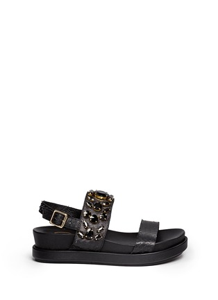 Main View - Click To Enlarge - Ash - 'Stone' embellished leather slingback sandals