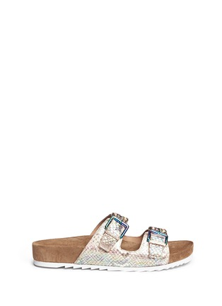 Main View - Click To Enlarge - Ash - 'Ulysse' snakeskin effect leather sandals