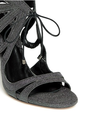 Detail View - Click To Enlarge - CHELSEA PARIS - 'Ada' glitter fabric caged sandal booties
