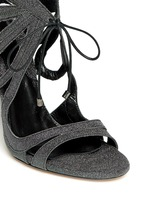 'Ada' glitter fabric caged sandal booties