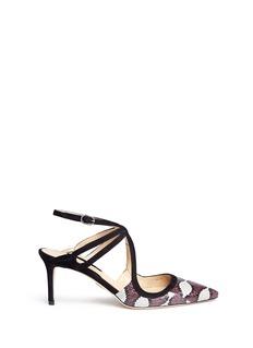CHELSEA PARIS'Adalar' snakeskin vamp caged suede sandals