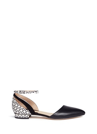 Main View - Click To Enlarge - CHELSEA PARIS - 'Emir' circle print snakeskin mix leather flats