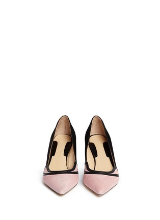 Front View - Click To Enlarge - CHELSEA PARIS - 'Sayan' leather trim colourblock suede pumps