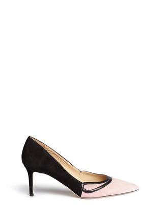 Main View - Click To Enlarge - CHELSEA PARIS - 'Sayan' leather trim colourblock suede pumps