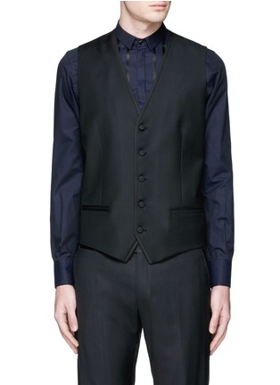 Detail View - Click To Enlarge - Dolce & Gabbana - Satin peak lapel wool-silk tuxedo blazer and waistcoat set