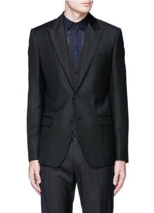 Main View - Click To Enlarge - Dolce & Gabbana - Satin peak lapel wool-silk tuxedo blazer and waistcoat set
