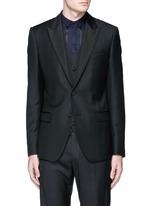 Satin peak lapel wool-silk tuxedo blazer and waistcoat set