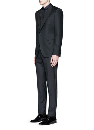 Figure View - Click To Enlarge - Dolce & Gabbana - Satin peak lapel wool-silk tuxedo blazer and waistcoat set