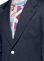 Crown embroidery jersey blazer