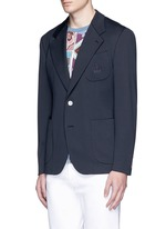 Crown embroidery jersey blazer