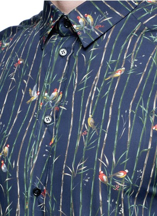 Detail View - Click To Enlarge - Dolce & Gabbana - 'Gold' bird and bamboo print poplin shirt