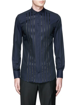 Main View - Click To Enlarge - Dolce & Gabbana - 'Gold' satin stripe tuxedo shirt