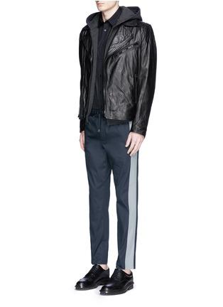 模特儿示范图 - 点击放大 - DOLCE & GABBANA - 竖纹拼接运动裤