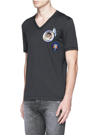 Front View - Click To Enlarge - Dolce & Gabbana - Patch embroidery cotton T-shirt