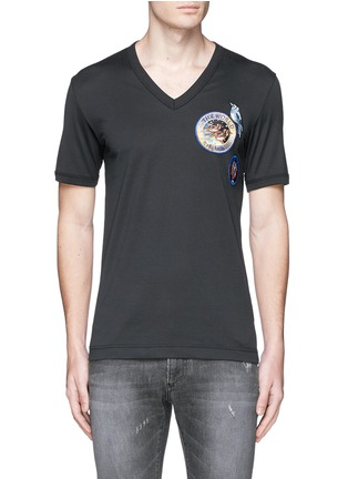 Main View - Click To Enlarge - Dolce & Gabbana - Patch embroidery cotton T-shirt