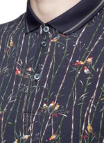 Bird and bamboo print polo shirt