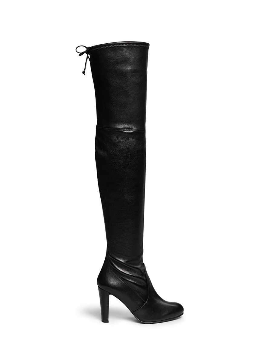 Highland stretch leather thigh high boots by Stuart Weitzman