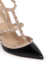 'Rockstud' caged patent leather pumps