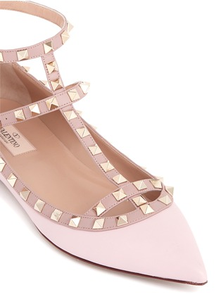 Detail View - Click To Enlarge - Valentino - 'Rockstud' caged leather flats