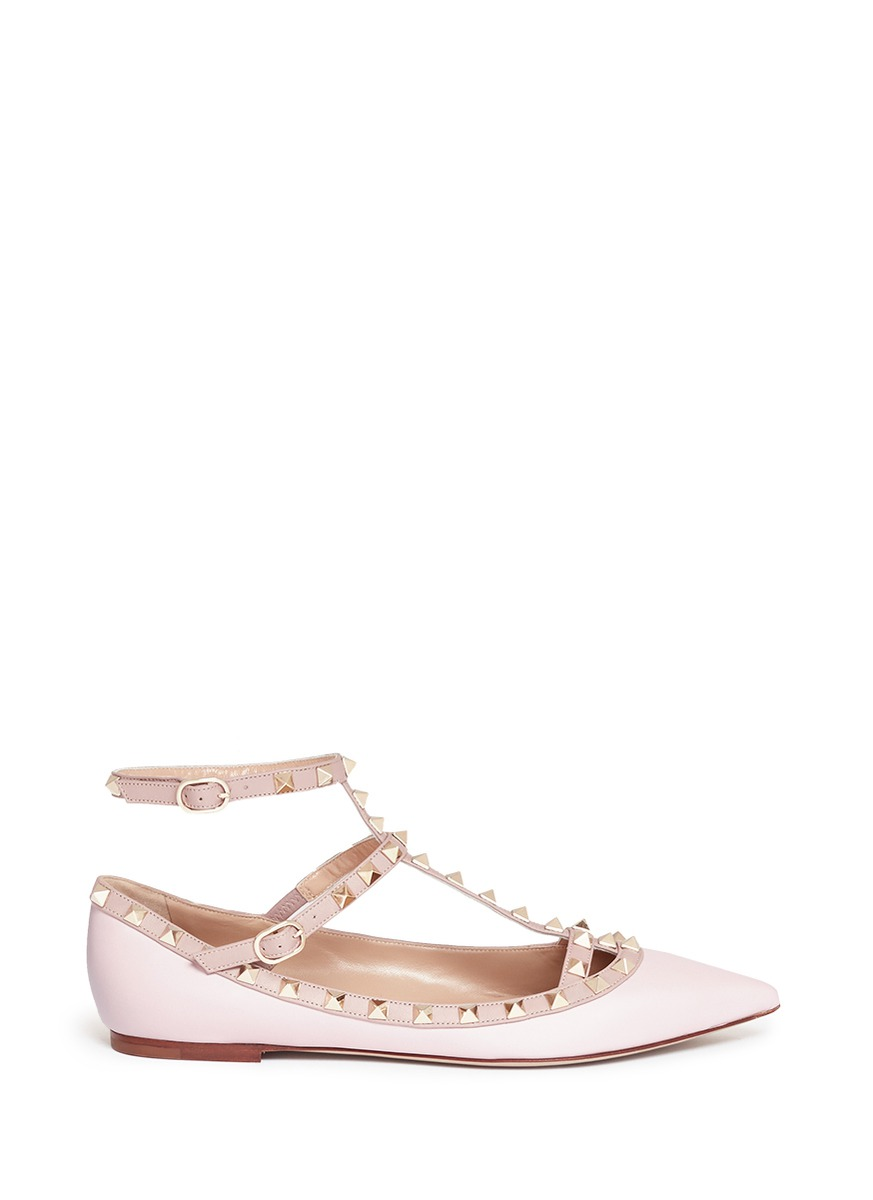 Rockstud caged leather flats by Valentino