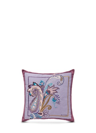 Main View - Click To Enlarge - Etro - Montrose Foss bead paisley embroidery velvet cushion