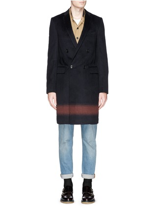 kolor - Gradient stripe wool-cashmere double breasted coat