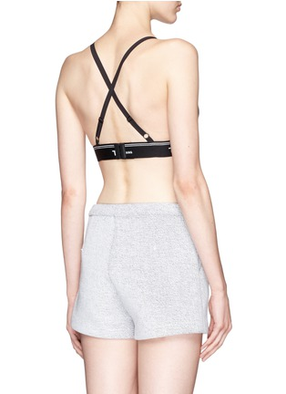 Back View - Click To Enlarge - T By Alexander Wang - Logo band cross back triangle sports bra