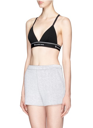 Front View - Click To Enlarge - T By Alexander Wang - Logo band cross back triangle sports bra