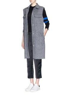 T BY ALEXANDER WANG Merino wool stripe cropped satin track pants
